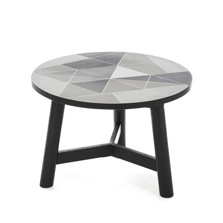 Mosaic Cement Tiles Monochrome  FSC tImber   Homweares Side Tables, decor, designer mosaic, contemporary mosaic. linear print, grey, silver, dark monochrome, industrial, enetretaining area, terrace, garden