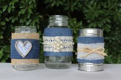 denim and lace table decorations - Google Search