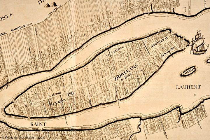 La division des terres sur l'île d'Orléans en 1709.