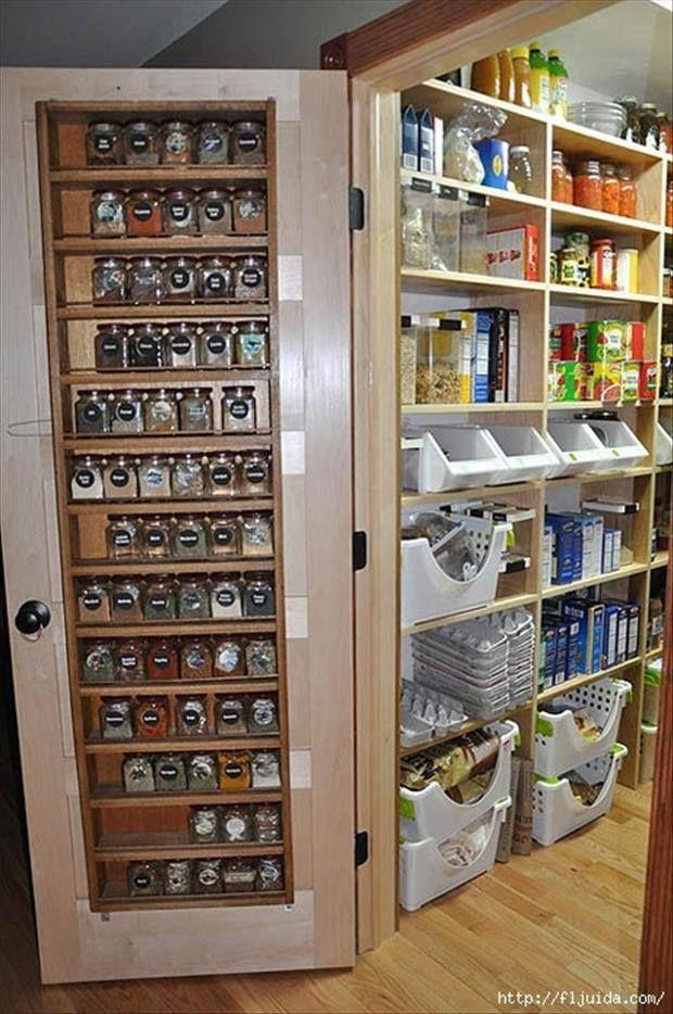 Inspiração para organização da despensa. aproveitando o espaço da porta, pequenas prateleiras.