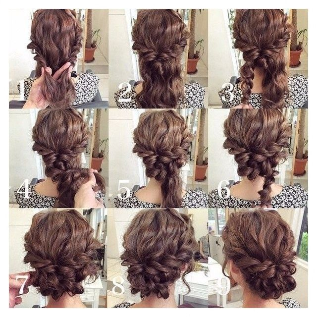 Wavy hair up do.