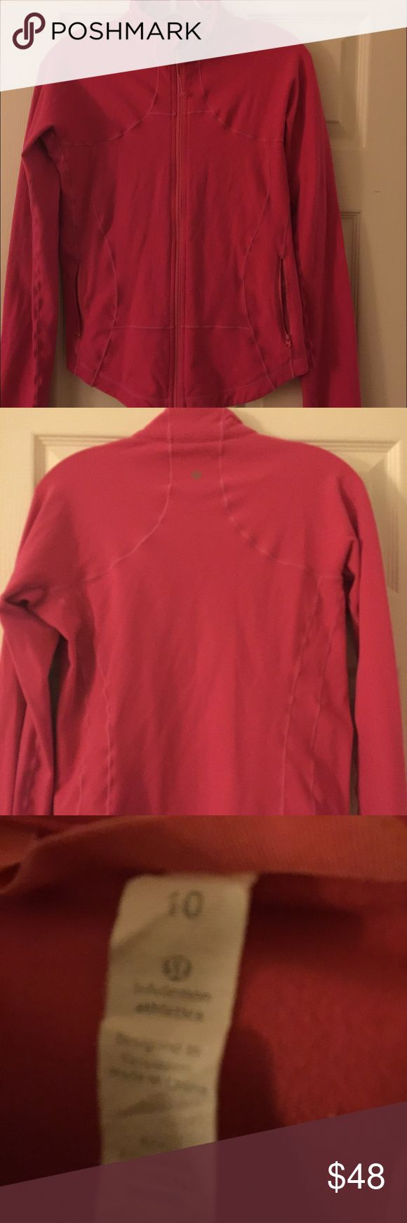 Lululemon raspberry pink define jacket size 10 Lululemon raspberry pink define jacket. Doesn't have thumb holes. The zipper is in perfect condition but the elastic pull is coming off. Otherwise it's in fantastic condition. I didn't wear it that often but has minor piling throughout. Size 10!! lululemon athletica Jackets & Coats