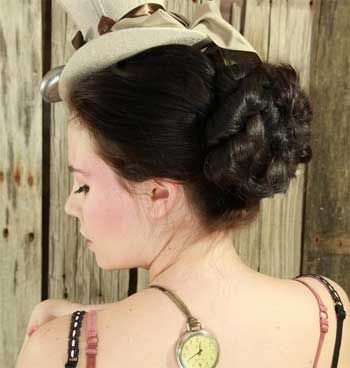 Bridal Wedding Accessory Hair Piece Hairpiece Formal Bun Updo Steampunk Victorian Costume Wig Your Color