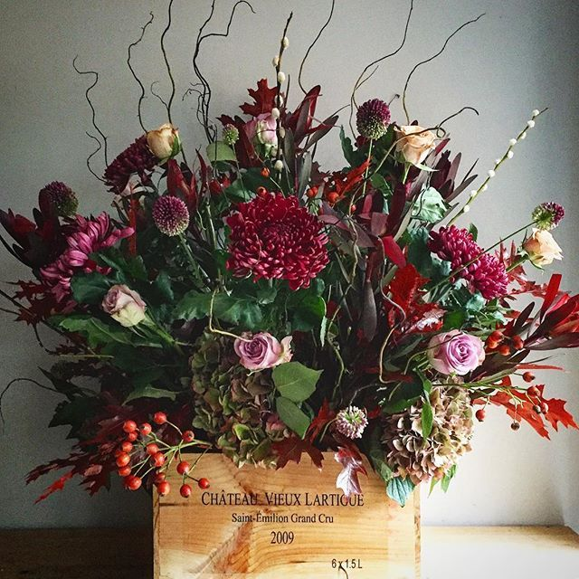 """Delivered yesterday: two of these beauties arranged in wine boxes.  Today I receive a text """"absolutely LOVING the flowers, colours so so gorgeous, thank you so much""""  Job Done. :0). . . #happyflorist #seasonalflowers  #flowersofinstagram  #instaflowers #twhfco #florist #colorsofnature #autumn #fall #jobdone #goodjob #seasonsbest"""