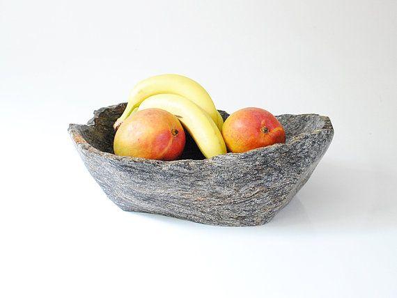 Rustic Timeless Stone Bowl, Large Polished Stone Tray, Vessel, Irregular Stone Bowl, Organic Stone Bowl, Artsy Bowl-Centerpiece Sculpture