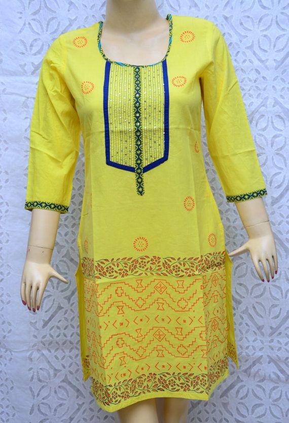 Indian Bollywood Designer Kurti Kurta Top Tunic Cotton Tunic Ethnic Dress Traditional Indian Clothing Causal Wear Women Kurti Tunic Size- M on Etsy, $13.99