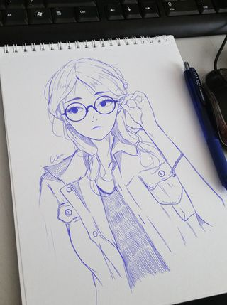 hi there im new here  looking forward hang out with u guys here    /hugs/ #original #anime #art #illustration #girl #glasses #promotion #feature #featureartist #artist #welcomenewpwusers #ocs