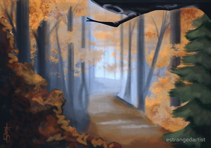 Animator Autumn  by estrangedartist. Available for purchase on a variety of products (tote bags, pillows, phone cases, etc). #skyrim #studio #ghibli #redbubble #autumn #adventure #destination #vacation #landscape #america #mountain #fall #nature #forest #tree #trees #birch #mountains #tunnel #spirited #away #woods #travel #indiana #jones #plants #fantasy #path #road #pathway #dnd #magic #pathfinder #game #crystals #power #games #gift #dungeons #and #dragons #charm #mystery #mystic #earth