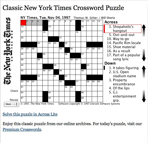 Free classic New York Times Crossword Puzzle (new one each