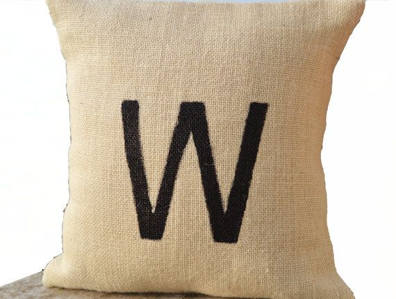 Monogram Pillow -Burlap Monogrammed Pillow -Customized Painted Letter Pillow -Ivory Throw Pillow -Personalized Cushion - Gift Pillows -16x16 on Etsy, $17.50