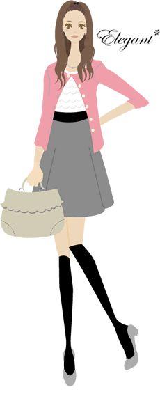 ■エレガント クラシックの分派ですが、ずっとフェミニンな感じです。クラシックの人より少しふっくらしていますが、ロマンティックほど肉感的ではありません。中年でもお嬢様でも、ソフトで優しい感じの人。日本人には一番多いタイプ。 スーツだったら柔らかいへちま襟やテーラードでも角が丸いもの。シャープなタイトスカートよりもソフトギャザーやセミフ レアーが似合います。ワンピースもとても似合いますが、余りひらひらさせると少しうるさい感じになってしまいます。フリルならスーツの下に着るブラウスに使ってください。 ベストカラーの花模様や水彩画のようなもやもやした模様で、あまりコントラストのはっきりしたものではない方が。 アクセサリーも風変わりなものでなく、女らしく上品なものを。スカーフを優しく顔の傍にあしらって。 お化粧は、エレガントな美しさを活かし、優しい感じに。余りきつ過ぎるアイラインよりもお似合いのシャドウのアイメイクの方が似合います。清潔感を大切に ヘアスタイルも柔らかい感じのセミロングかショートが素敵。全ての面で優しい女らしさを活かすことに気を付けて、極端に個性的なスタイルは避けた方が