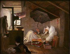 Der arme Poet, 1839 | oil, 36 × 45 cm