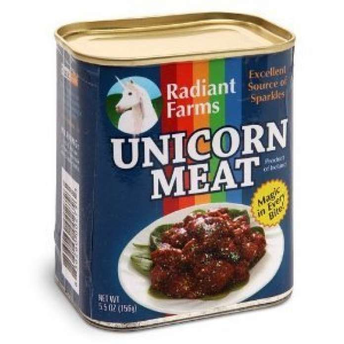 """Canned Unicorn Meat, by Amazon user V. Zhirinovsky: """"Don't order this product if you have a conscience. The unicorns in the industrial unicorn farms live in appalling conditions, in many cases worse than those of the pegasus ranches. Don't believe the propaganda of Lisa Frank and the other tycoons of big unicorn; all that awaits these poor creatures is the abattoir and the rainbow factory. Be ethical and buy (kosher) dragon meat instead."""" http://www.amazon.com/ThinkGeek-Canned-Unico..."""