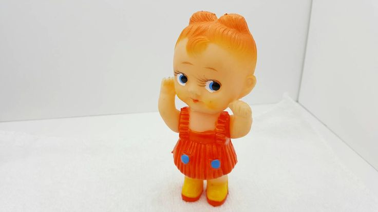Rubber Little Girl Made in Japan Stamped Arms Move Dolly Ginger Pebbles #etsyseller #minimalscratch