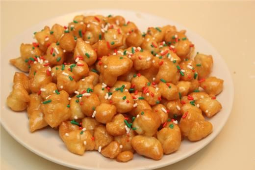 recipe image: Stuffoli de Aquilinia From Cooking with Nonna italian Christmas fried cookie