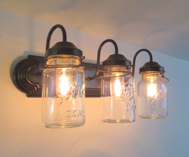 Vanity Lights Farmhouse : Bathroom Mason Jar TRIPLE Vanity Wall Sconce Light, Oil Rubbed Bronze farmhouse bathroom ...