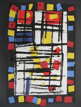 Damien967's art on Artsonia...my kinder's take on mondrian. fun first project of the year. and intro to cutting/gluing.