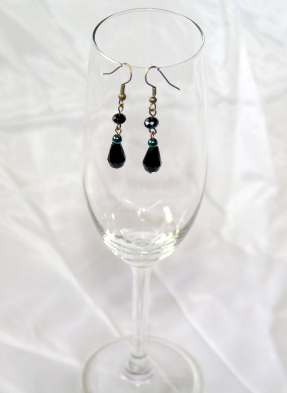 Teal Pearl and Black Crystal Earrings by AnomalieAccessories