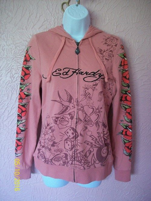 29.36$  Watch here - http://vinsa.justgood.pw/vig/item.php?t=o7phk4y59439 - Don Ed Hardy Full Zip Hooded Sweat Jacket Junior Size XS Pink Roses Birds
