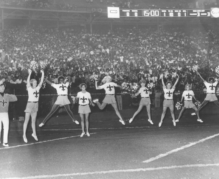 Sept. 10, 1967: The New Orleans Saints cheerleaders, along with almost 70,000 fans, root for the black and gold during the team's preseason game against the Atlanta Falcons at Tulane Stadium. The Saints won the game by a score of 24-17 to finish the preseason with a 5-1 record. (H.J. Patterson/The Times-Picayune)