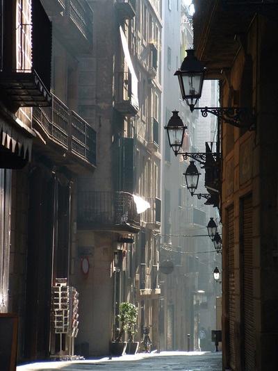 Old street downtown Barcelona, Spain