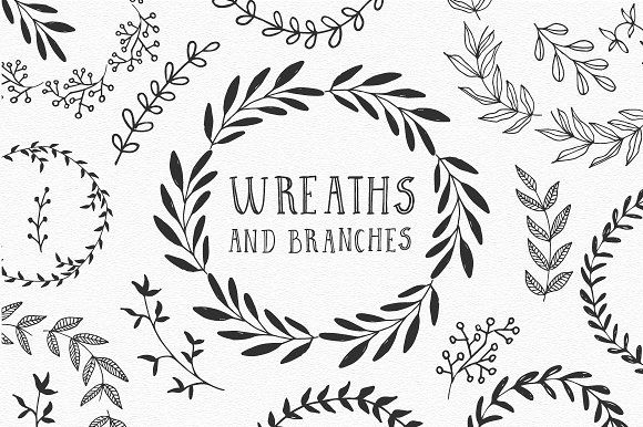 Hand drawn Wreaths and branches  by Anatartan Design on @creativemarket