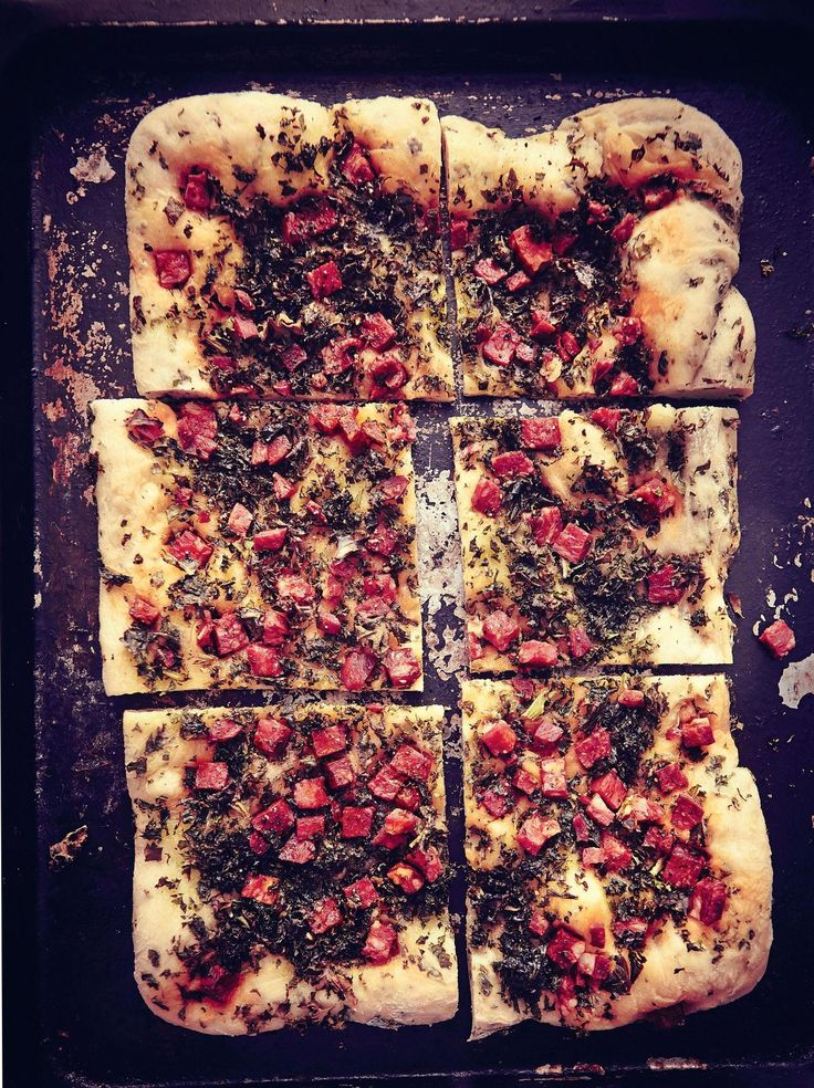 Chorizo and Kale Flatbread | recipe by GBBO s4 finalist Ruby Tandoh from her cookbook 'Crumb' ~ via The Happy Foodie