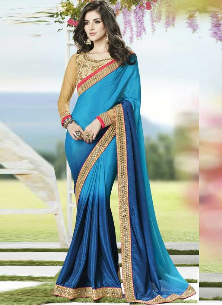 Alluring Sky Blue With Silk Georgette Designer Party Wear Saree. Buy Online Shopping Saree Collection In Suriname.