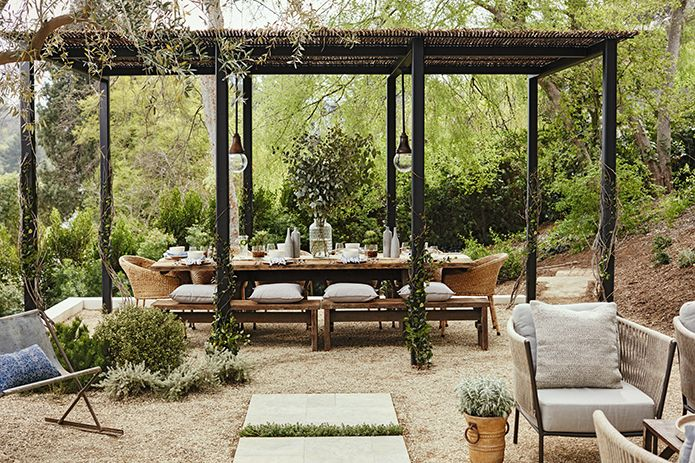 Outdoor Dining Area with Hanging Lanterns, Jullianne Hough
