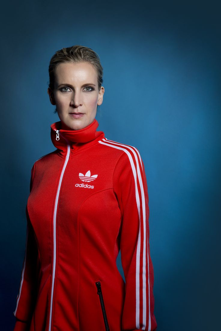 Artist Frøy Aagre sporting an awesome red Adidas Originals clubbing dress