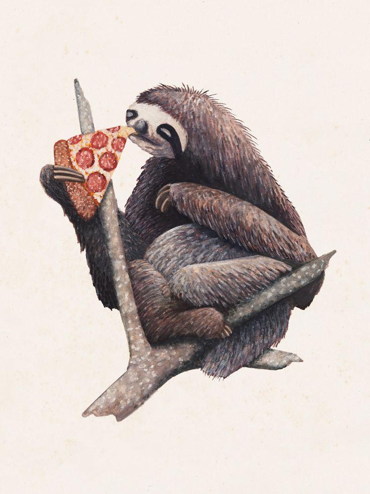 Yeah.., thatslothblog:   johnstortz:   Pizza Sloth  Heaven...