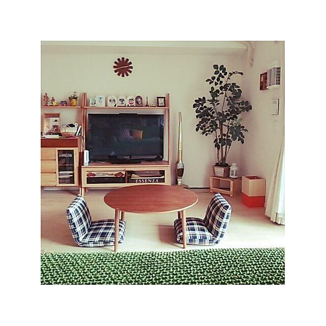 ラグをとってみました。/座椅子/丸テーブル/ニトリのソファーカバー/北欧ゴミ箱…などのインテリア実例 - 2014-08-12 15:41:43 | RoomClip(ルームクリップ)