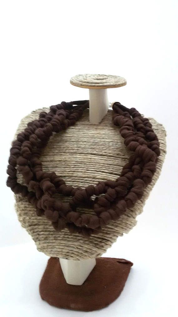 Knotted fabric necklace  soft huge scarf CHOCOLATE BROWN