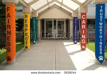 stock photo : Colorful entrance with meaningful words at an elementary school