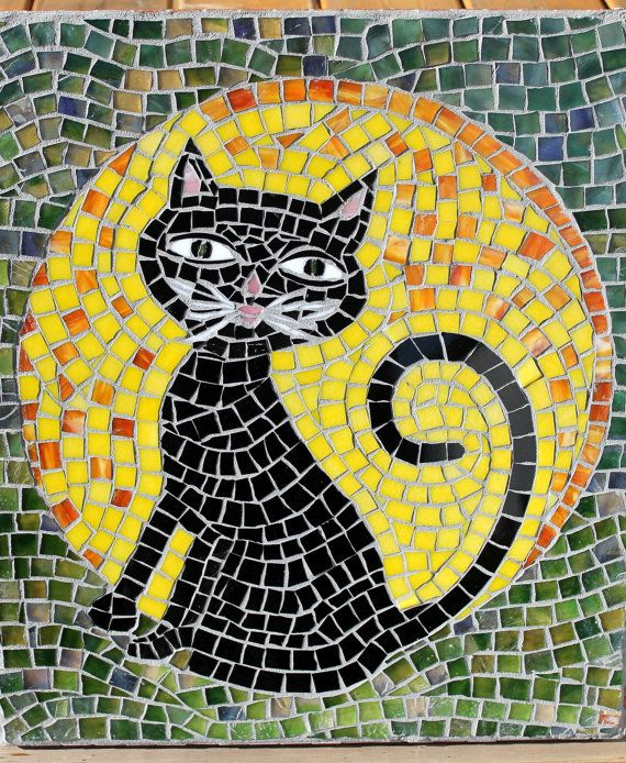 Mosaic Art & Craft Supplies available online www.mosaictiles.com.au #mosaiccats #mosaiccraft #mosaicart Cool Cat Mosaic by HildeMosaics on Etsy