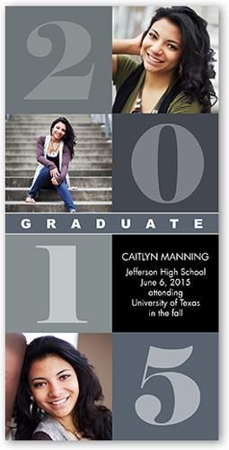 Classic Block Collage 4x8 Photo Card by Shutterfly. Celebrate the new graduate with this unique graduation announcement. Personalize with the graduate's name and the event details.