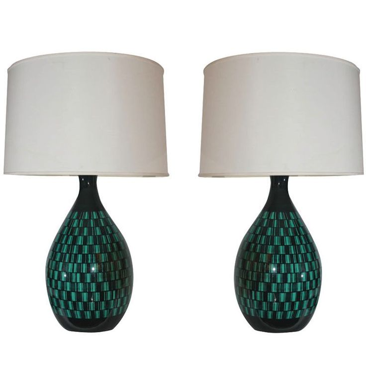 Pair of Italian Modernist Ceramic Table Lamps | See more antique and modern Table Lamps at https://www.1stdibs.com/furniture/lighting/table-lamps