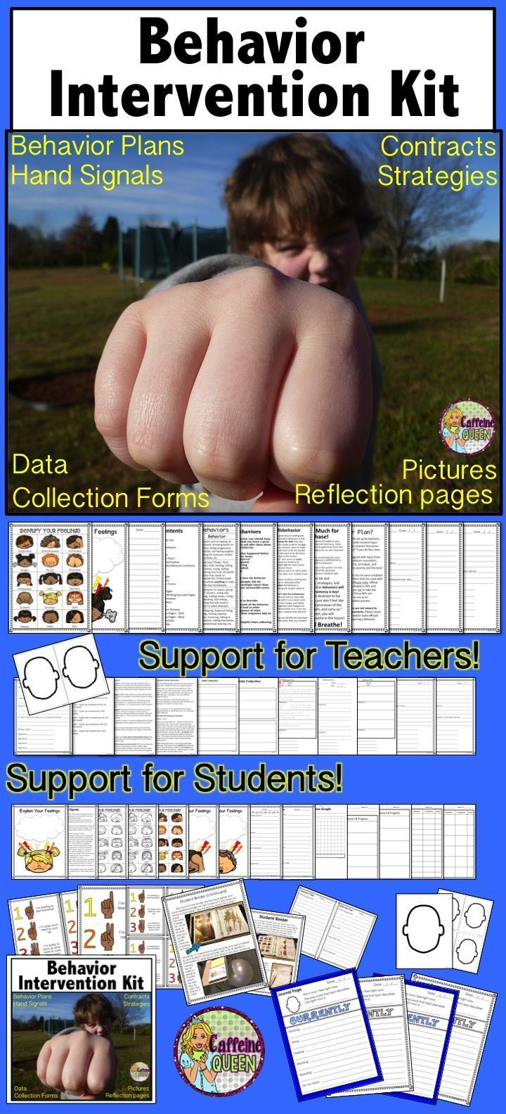 Behavior Intervention Kit to support teachers and students - full of behavior plans, contracts, information about behaviors, reflection pages, data collection and more!