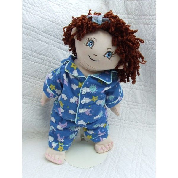 """Cuddly 18"""" Rag Doll In Blue Clouds & Stars Pyjama"""