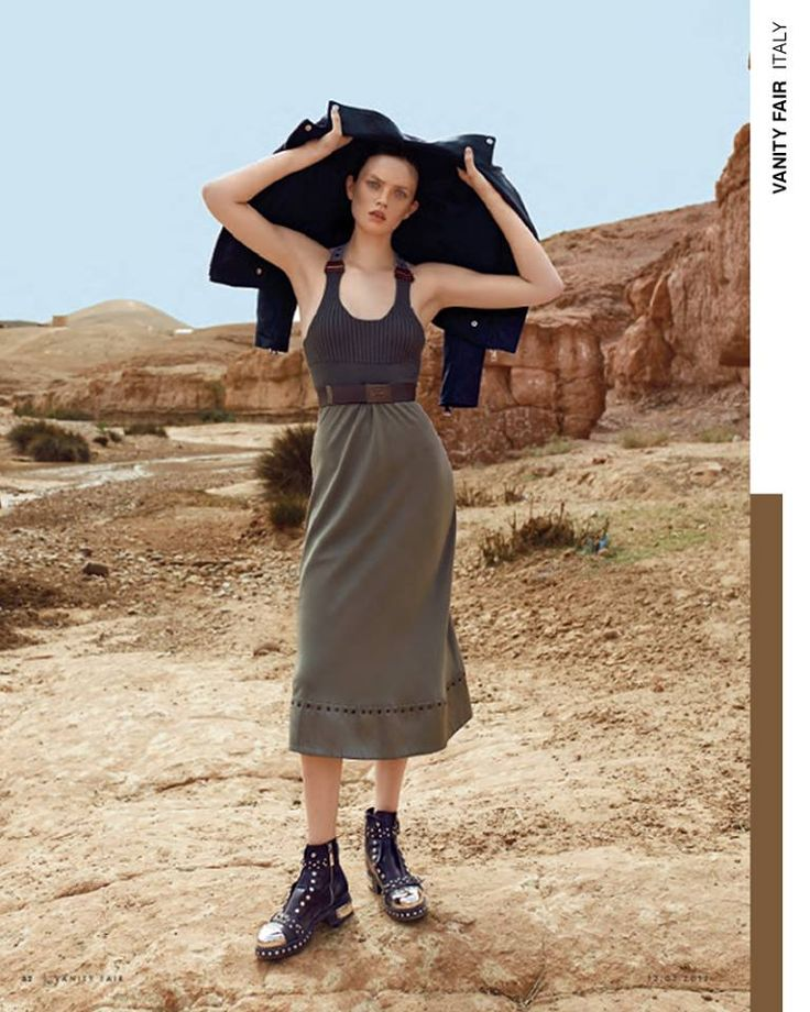 A seamless blending of style and nature. The Fay belted dress with metallic studs and leather details, as seen in Vanity Fair Italia.