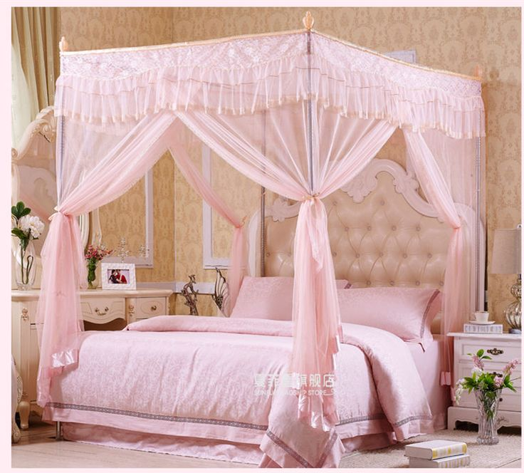 Metal Steel Frame 4 Corner Canopy Mosquito Bed Netting