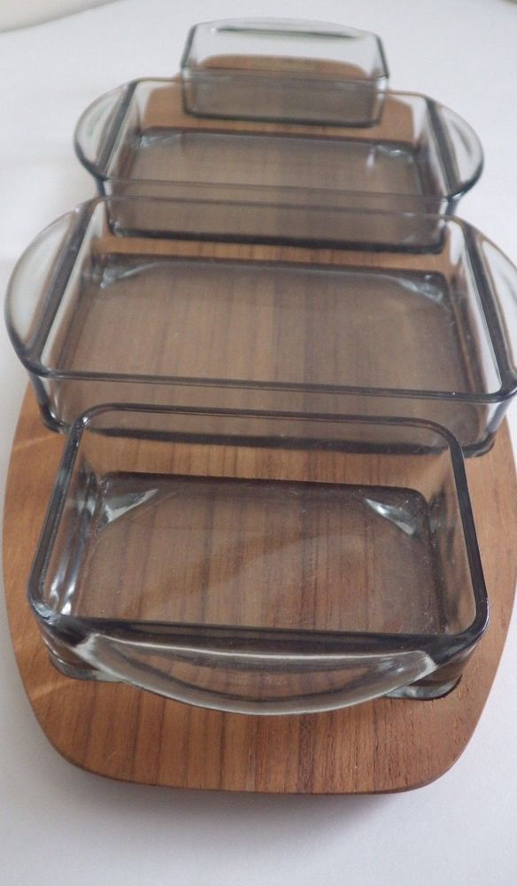 MID CENTURY DANISH MODERN 4 Part TEAK & GLASS INSERT SERVING TRAY 15 1/4 inches