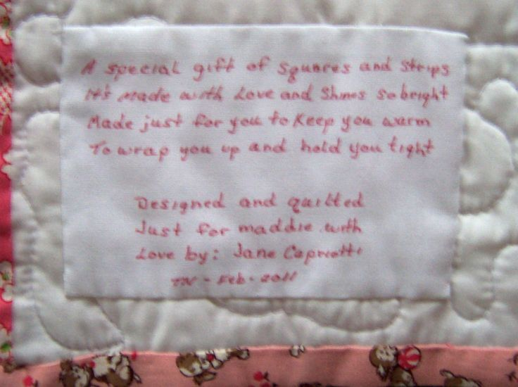50 best Quilt Labels images on Pinterest | Tags, Baby journal and ... : baby quilt poem - Adamdwight.com