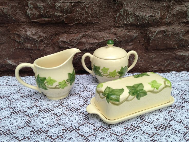 Franciscan IVY Hostess 5 Piece Set . Covered Butter  Covered Sugar  Creamer . Earthenware China . Vintage 1953 / Dinnerware & 17 best ♥ Franciscan Ivy images on Pinterest | Hedera helix Ivy ...