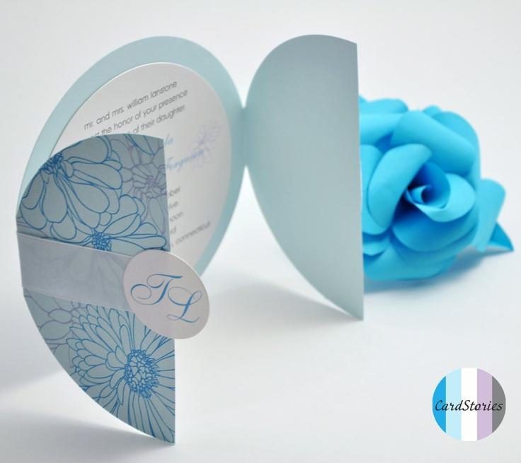 Light Cyan Wedding Invitations - Blue Wedding Flower Deluge. $500.00, via Etsy.