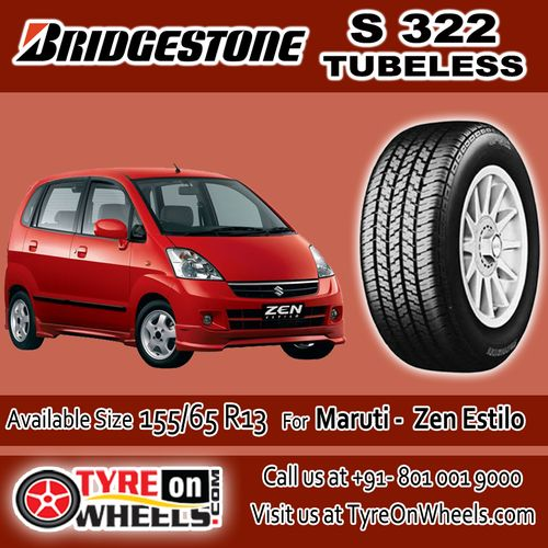 Buy Bridgestone Tyres Online of S 322 Tubeless Tyres for Maruti Zen Estilo Size 155/65R 13 at Guaranteed Low Prices and also get Mobile Tyres Fitting Services at your home now buy at http://www.tyreonwheels.com/tyres/Bridgestone/S-322/94