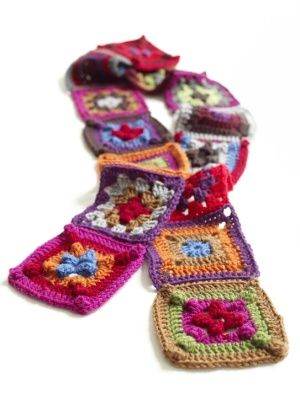 Image of Granny Squares ScarfCrochet Granny Squares, Free Pattern, Lion Brand Yarn, Crochet Scarf Patterns, Granny Squares Scarves, Granny Squares Scarf, Easy Crochet, Crochet Pattern, Crochet Scarfs