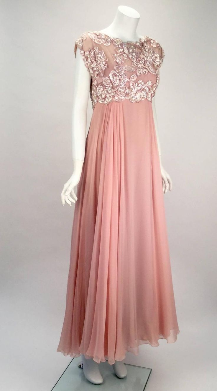 1960s Helen Rose Silk Pink Beaded Evening Gown   | From a collection of rare vintage evening dresses and gowns