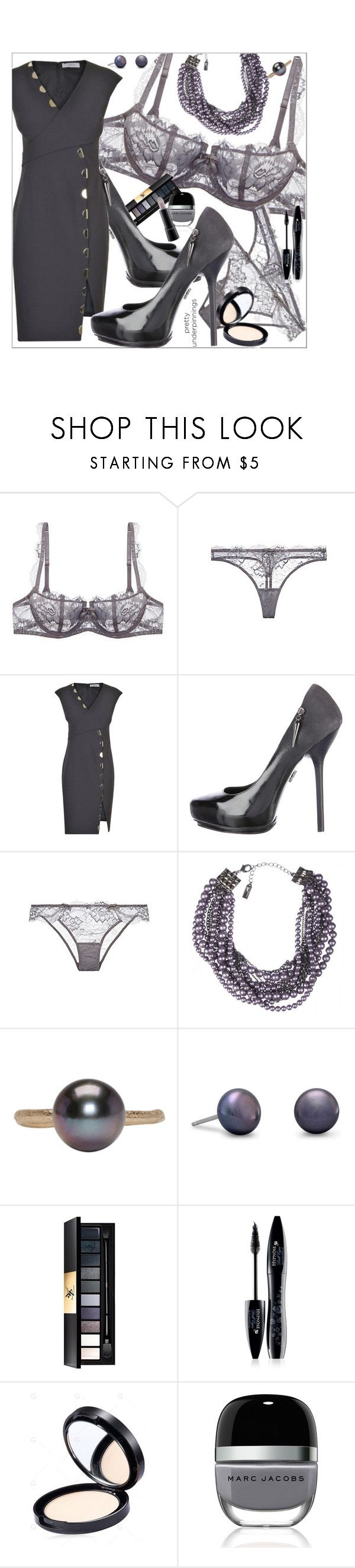 """Pretty Underpinnings"" by marionmeyer ❤ liked on Polyvore featuring Versace, Rock & Republic, Lia Sophia, Pearls Before Swine, Yves Saint Laurent, Lancôme, Marc Jacobs, MAC Cosmetics and prettyunderpinnings"