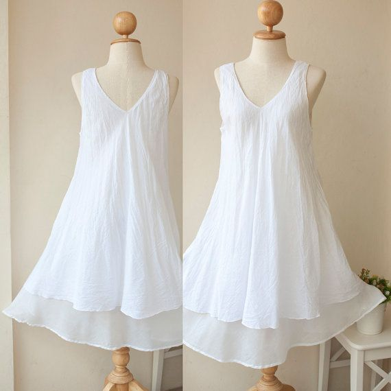 V Neck Sleeveless Cotton Summer Dress in White by wildolivestudio